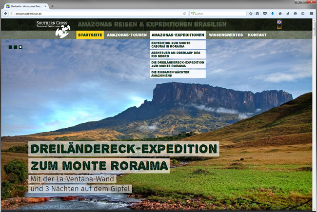 Startseitenansicht der Amazonas-Website von Southern Cross Tours & Expeditions
